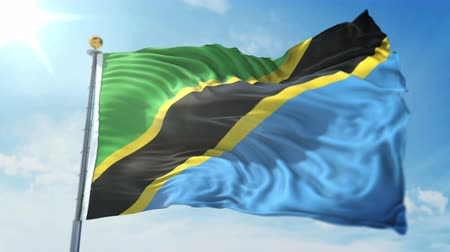 kırpma : Tanzania flag seamless looping 3D rendering video. 3 in 1: clipping in ae. Beautiful textile cloth loop waving