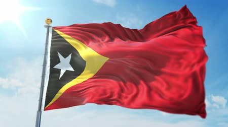 east timor : Timor-Leste East Timor flag seamless looping 3D rendering video. 3 in 1: clipping in ae. Beautiful textile cloth loop waving