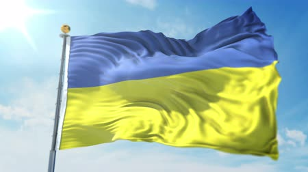 kırpma : Ukraine flag seamless looping 3D rendering video. 3 in 1: clipping in ae. Beautiful textile cloth loop waving