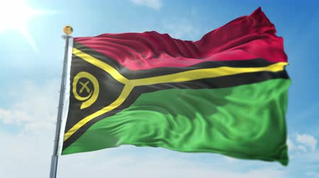 kırpma : Vanuatu flag seamless looping 3D rendering video. 3 in 1: isolated clipping in ae. Beautiful textile cloth loop waving Stok Video
