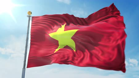 kırpma : Vietnam flag seamless looping 3D rendering video. 3 in 1: isolated clipping in ae. Beautiful textile cloth loop waving