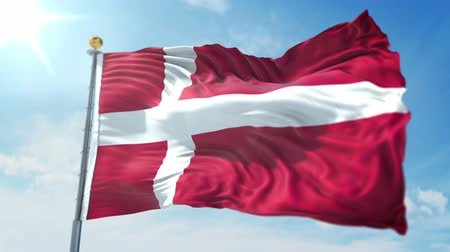 kırpma : Denmark flag seamless looping 3D rendering video. 3 in 1: isolated clipping in ae. Beautiful textile cloth loop waving