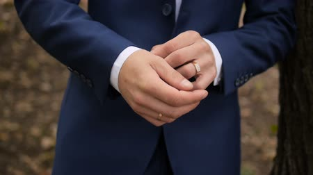 Man Wear a Suite, Correct Clothes, Fees Groom, Wedding Preparations Outdoor Stock Footage