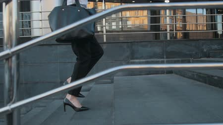 escada : Businesswoman Legs In High-Heeled Shoes Walking Up Stairs On Stairway