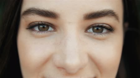 olhos verdes : Close Up of a Womans Face. Beauty shot. Beautiful Eyes Macro Outdoors, Beauty Concept Stock Footage