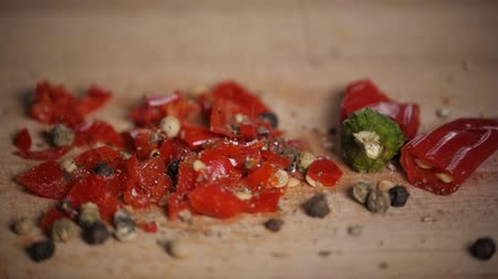 cominho : Different red hot pepper spices freshly ground on wooden background. Top view, jalapeno mexican