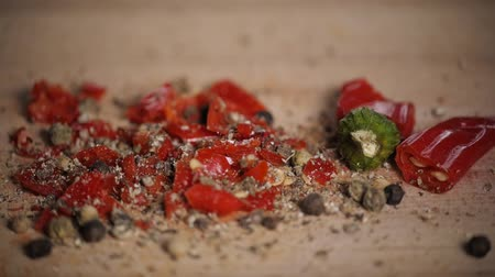kari : Different red hot pepper spices freshly ground on wooden background. Top view, jalapeno mexican