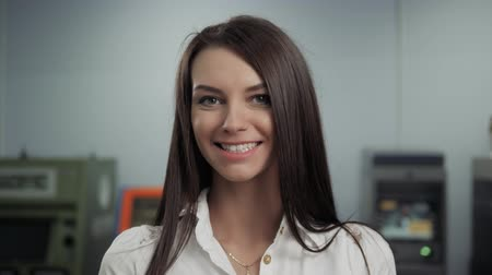 mladé ženy : Happy Beautiful Business Woman in Office Hall, student bank in front of atm smiling