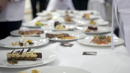 Set of dishes prepared in restaurant chef contest competition, michelin star restaurat food, event expo contest catering