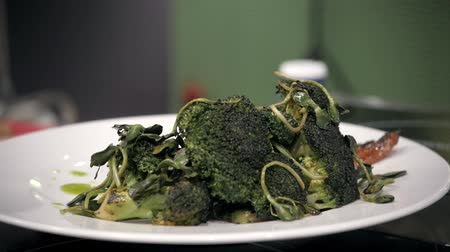 green fresh broccoli close up chef kitchen restaurant
