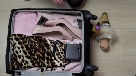 talons : Womans open bag on a desktop with clothing and accessories, she is packing and getting ready to leave, travel and vacations concept fashion dress camera Vidéos Libres De Droits