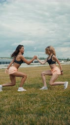 aerobic : fitness, training, aerobics and people concept - group of girls working out with steppers stretching yoga on the beach in park city river female body, skinny sport happy woman team