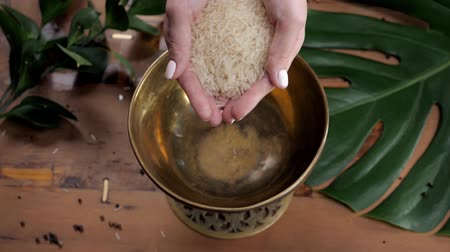 in the wild : Female hand pouring white brown rice, closeup, close up pour woman in metal bowl before cooking slow motion