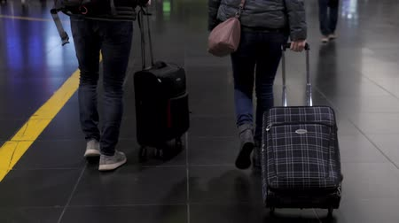 tasje : People with suitcases in airport terminal railway station, adult senior young people tourist travellers with luggage
