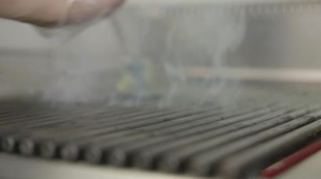 barbequing : steak grilled with corn Stock Footage