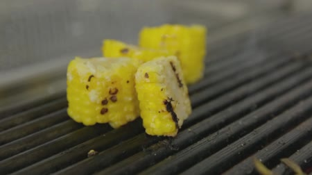 sirloin : steak grilled with corn Stock Footage