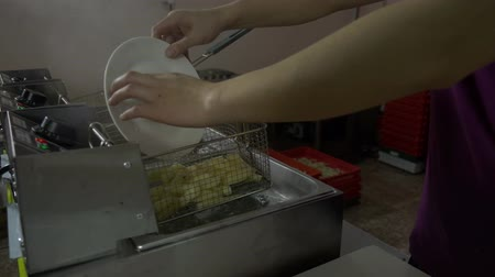 blanching : Blanching potatoes. Blanching potatoes before frying Stock Footage
