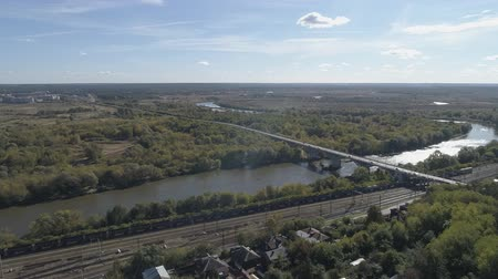 The bridge over the Klyazma River in the city of Vladimir. Aerial video shooting.