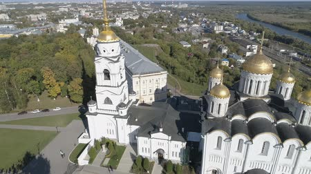 ortodoxia : Flying over the Assumption Cathedral in Vladimir. Aerial video shooting. Stock Footage