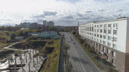 Top view of Dvoryanskaya Street Vladimir. Aerial video shooting. Dostupné videozáznamy