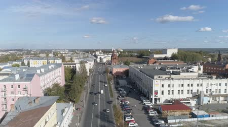 Top view of the Golden Gate of Vladimir We fly up to the building above Dvoryanskaya Street.