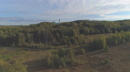 Flying up to the Kazan Church in the village of Borisogleb. Aerial video shooting in the Vladimir region.