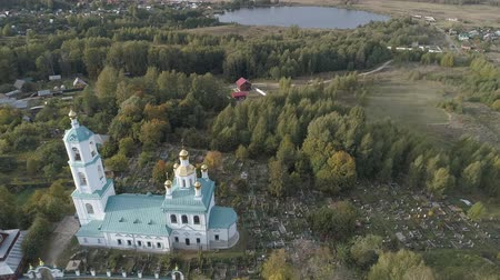 Flight over the Kazan Church near the village Borisogleb. Aerial video shooting in the Vladimir region.