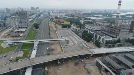 Construction of the overpass through the Moscow Central Ring. Aerial video shooting. Dostupné videozáznamy