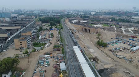 The train departs from the station ZIL Moscow Central Ring. Aerial video shooting.