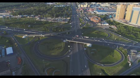 Road junction at the Ring Road and Highway Enthusiasts. Aerial video shooting.