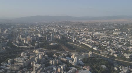 View of the capital of Georgia from a height. Aerial video shooting.