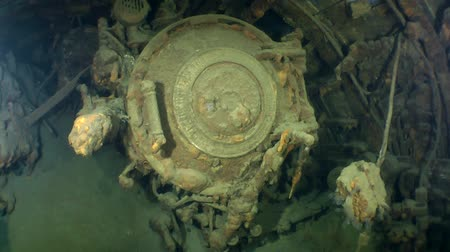 torpedo : Covers of stern torpedo tubes in a sunken submarine. Stock Footage