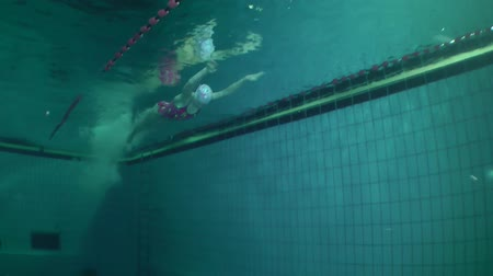 nadador : Girl swims butterfly on the pool lane, wide shot, underwater view.