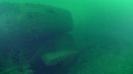 torpedo : The aft part of a sunken submarine with rudders of depth and direction. Stock Footage