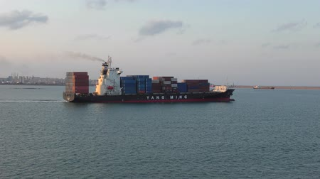 The container ship in the port.