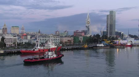 партия : Port of Batumi in the early morning. Стоковые видеозаписи
