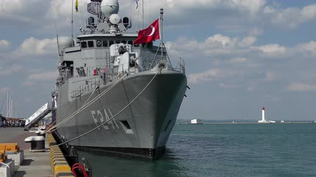 mooring : Turkish military ship at the pier in the port of Odessa. Stock Footage
