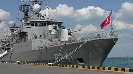 Turkish military ship at the pier in the port of Odessa. Dostupné videozáznamy