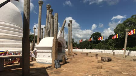 шри : Anuradhapura, Sri Lanka, view of the dome and pillars 4K