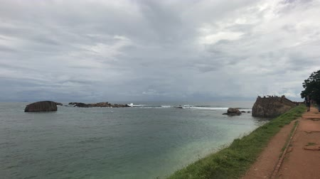 Galle, Sri Lanka, view of the big stones in the sea 4K