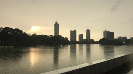 Colombo, Sri lanka, high-rise in the background of the lake 4K