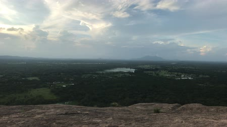 seylan : Sigiriya, Sri Lanka, view from the mountain in the distance 4K Stok Video