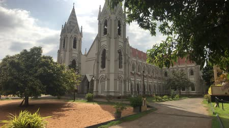 шри : Negombo, Sri Lanka, November 23, 2019, St. Sebastian Church, side view of the church 4K