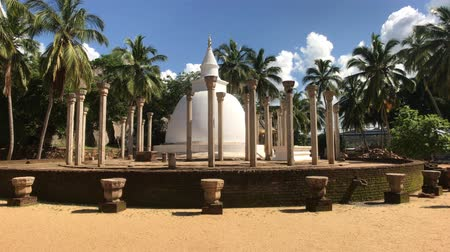 kutsal : Mihintale, Sri Lanka, November 24, 2019, Mihintale Temple Complex, pillars and dome 4K