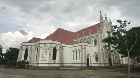 seylan : Negombo, Sri Lanka, November 23, 2019, St. Sebastian Church, church building panoramic view from the corner 4K