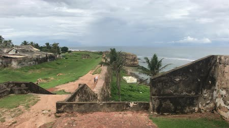 Galle, Sri Lanka, the main wall of the fortress upper part overlooking the sea 4K