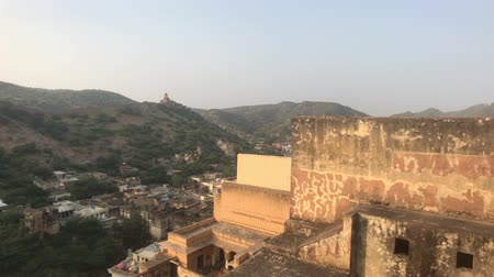 amer fort : Jaipur, India, November 05, 2019 Amer Fort walls of an old fortress with many doors and windows part 5 4K