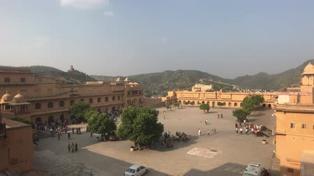 amer fort : Jaipur, India, November 05, 2019, Amer Fort, the territory of the old city behind the walls 4K