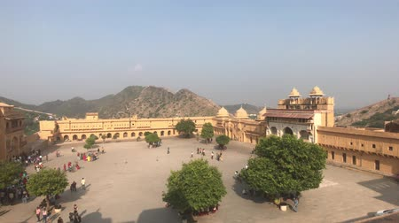 amer fort : Jaipur, India, November 05, 2019, Amer Fort, area waiting for tourists in the early morning 4K