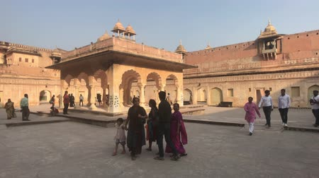 amer fort : Jaipur, India, November 05, 2019 Amer Fort tourists walk on different levels of the fortress part 5 4K Stock Footage